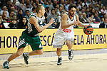 Basketball Real Madrid´s Campazzo (R) and Zalgiris Kaunas´s Lakavicius during Euroleague basketball match in Madrid, Spain. October 17, 2014. (ALTERPHOTOS/Victor Blanco)