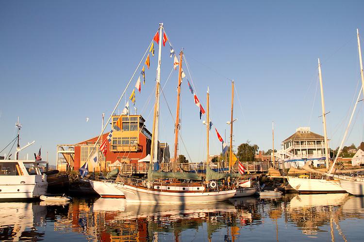 Port Townsend, Wooden Boat Festival, Port Hudson Marina, boat harbor, classic sailboats, Olympic Peninsula, Washington State, Pacific Northwest, USA,
