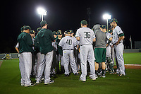 Siena Saints head coach Tony Rossi (40) meets with his team after a game against the UCF Knights on February 17, 2017 at UCF Baseball Complex in Orlando, Florida.  UCF defeated Siena 17-6.  (Mike Janes/Four Seam Images)