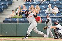 Skyler Ewing #44 of the Salem-Keizer Volcanoes at bat during a game against the Everett AquaSox at Everett Memorial Stadium in Everett, Washington on July 14, 2014.  Salem-Keizer defeated Everett 6-4.  (Ronnie Allen/Four Seam Images)