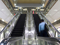 January, 2004 Subway escalators in Singapore public transit system..