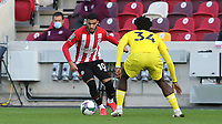 Said Benrahma of Brentford takes on Fulham's Ola Aina during Brentford vs Fulham, Caraboa Cup Football at the Brentford Community Stadium on 1st October 2020