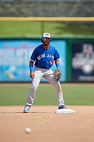 Toronto Blue Jays Hugo Cardona (2) during an Instructional League game against the Philadelphia Phillies on September 23, 2019 at Spectrum Field in Clearwater, Florida.  (Mike Janes/Four Seam Images)