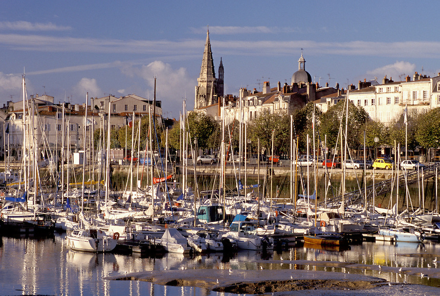 France, La Rochelle, Poitou-Charentes, Charente-Maritime, Europe, The ancient fortified old port city of La Rochelle on the Atlantic Ocean.