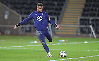 SWANSEA, WALES - NOVEMBER 12: Zack Steffen #1 of the United States national team warming up before a game between Wales and USMNT at Liberty Stadium on November 12, 2020 in Swansea, Wales.