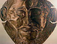 """Greek Art:  Mycenae Gold Death Mask, c. 1550-1500 B.C.  The  """"mask of Agamemnon"""" was  found in the grave shafts of Mycenae  by Heinrich Schliemann, an amateur archaeologist.   Reference only."""