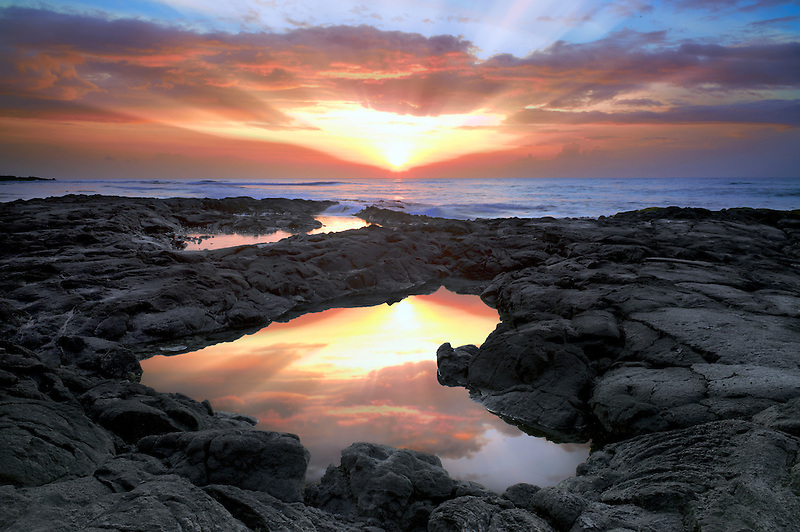 Sunrise and tidepool. Hawaii, The Big Island.
