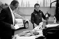 Milan-San Remo preparations..DS Herman Frison getting the logistics done