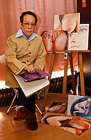 Issei Sagawa, the notorious Japanese cannibal, poses next to erotic paintings. Sagawa killed and ate  a Dutch student, Renee Hartevelt while studying in Paris in 1981. He was released in Japan due to political connections after being jailed then placed in a mental institution in Paris, France<br /> 14-DEC-05