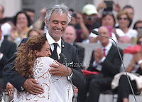 Israeli singer Noa and tenor Andrea Bocelli during a meeting with the Pope Francis with the Movement of Renewal in the Spirit.n St. Peter square at the Vatican,.3 July 2015