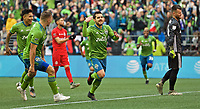 SEATTLE, WA - NOVEMBER 10: Seattle Sounders midfielder Victor Rodriguez #8 celebrates after scoring a goal during a game between Toronto FC and Seattle Sounders FC at CenturyLink Field on November 10, 2019 in Seattle, Washington.