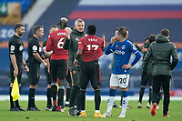 7th November 2020; Liverpool, England; Manchester Uniteds manager Ole Gunnar Solskjaer shakes hands with Manchester Uniteds Fred after the Premier League match between Everton and Manchester United at Goodison Park Stadium