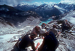 North Cascades National Park, National Outdoor Leadership School, climbers, topo map, route finding, Moraine Lake, Cascade Mountains, Washington State, Pacific Northwest, U.S.A.,