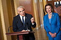 Yair Lapid, Alternate Prime Minister and Minister of Foreign Affairs of the State of Israel, delivers remarks during a press conference with Speaker of the United States House of Representatives Nancy Pelosi (Democrat of California) at the US Capitol in Washington, DC., Tuesday, October 12, 2020.<br /> Credit: Sarah Silbiger / CNP /MediaPunch
