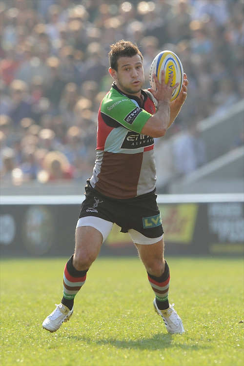 Danny Care of Harlequins in action during the Aviva Premiership match between Harlequins and Bath Rugby at The Twickenham Stoop on Saturday 24th March 2012 (Photo by Rob Munro)
