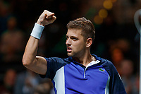 Rotterdam, The Netherlands, 14 Februari 2020, ABNAMRO World Tennis Tournament, Ahoy, <br /> Filip Krajinovic (SRB) celebrates his win over Rublev (RUS)<br /> Photo: www.tennisimages.com