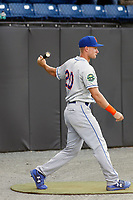 Kingsport Mets outfielder Jarred Kelenic (20) in the on deck circle before a game against the Burlington Royals at Burlington Athletic Complex on July 28, 2018 in Burlington, North Carolina. Burlington defeated Kingsport 4-3. (Robert Gurganus/Four Seam Images)