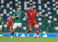 7th September 2020; Windsor Park, Belfast, County Antrim, Northern Ireland; EUFA Nations League, Group B, Northern Ireland versus Norway; Jordan Thompson of Northern Ireland  and Norway's Marcus Henriksen compete for the ball