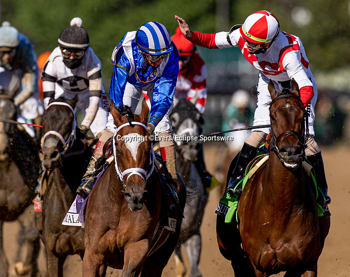 April 30, 2021: Irad Ortiz Jr. (red cap) congratulates winning jockey John Velazquez aboard Malathaat after winning the Kentucky Oaks at Churchill Downs in Louisville, Kentucky on April 30, 2021. EversEclipse Sportswire/CSM