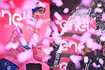 Race leader Joao Almeida (POR) Deceuninck-Quick Step retains the Maglia Rosa at the end of Stage 9 of the 103rd edition of the Giro d'Italia 2020 running 208km from San Salvo to Roccaraso (Aremogna), Sicily, Italy. 11th October 2020.  <br /> Picture: LaPresse/Massimo Paolone   Cyclefile<br /> <br /> All photos usage must carry mandatory copyright credit (© Cyclefile   LaPresse/Massimo Paolone)