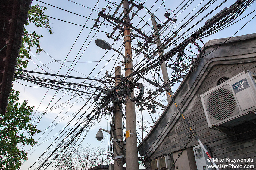 Power lines in Beijing, China