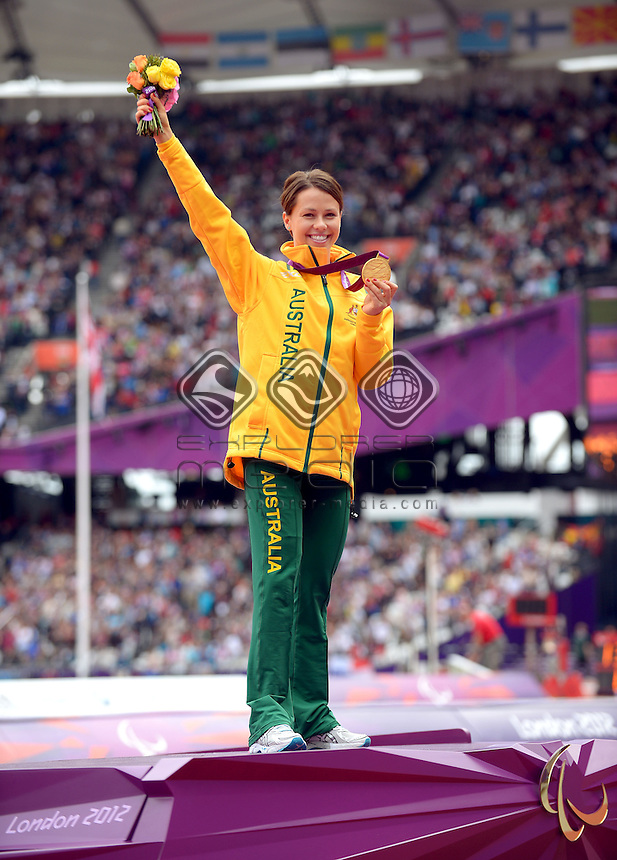 Kelly Cartwright (AUS) GOLD F42/44<br /> Athletics : Women's Long Jump (Sunday 2 Sept )<br /> Paralympics - Summer / London 2012<br /> London England 29 Aug - 9 Sept <br /> © Sport the library / Jeff Crow