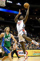 Charlotte Bobcats Emeka Okafor shoots over the Dallas Mavericks during an NBA basketball game Time Warner Cable Arena in Charlotte, NC.