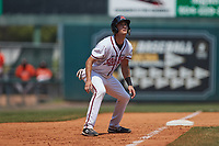 Brandon Martorano (5) of the Richmond Flying Squirrels takes his lead off of third base against the Bowie Baysox at The Diamond on July 28, 2021, in Richmond Virginia. (Brian Westerholt/Four Seam Images)