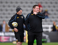 Photo: Richard Lee/Richard Lane Photography. Aviva Premiership. Newcastle Falcons v Wasps. 27/03/2016. David 'Dai' Young director of rugby for Wasps (right) shares a joke with Brad Davis Wasps' defence coach.