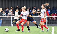 Essevee's Laura Vervacke pictured defending on Brugge's Jody Vangheluwe  with Essevee's Amber De Priester watching during a female soccer game between Club Brugge Dames YLA and Zulte Waregem Ladies on the third matchday of the 2020 - 2021 season of Belgian Scooore Womens Super League , saturday 3 October 2020  in Brugge , Belgium . PHOTO SPORTPIX.BE | SPP | DAVID CATRY