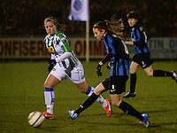 20131213 - VARSENARE , BELGIUM : Brugge's Nicky Van De Abbeele (right) pictured in front of Zwolle's Tessa Klein Braskamp (left) during the female soccer match between Club Brugge Vrouwen and PEC Zwolle Ladies , of  matchday 14  in the BENELEAGUE competition. Friday 13th December 2013. PHOTO DAVID CATRY