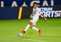 CARSON, CA - SEPTEMBER 19: Efrain Alvarez #26 of the Los Angeles Galaxy takes a shot during a game between Colorado Rapids and Los Angeles Galaxy at Dignity Heath Sports Park on September 19, 2020 in Carson, California.
