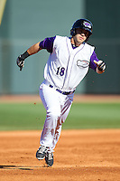 Joey DeMichele (18) of the Winston-Salem Dash hustles towards third base against the Salem Red Sox at BB&T Ballpark on April 20, 2014 in Winston-Salem, North Carolina.  The Dash defeated the Red Sox 10-8.  (Brian Westerholt/Four Seam Images)