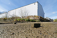 Pictured: Bricks left at the slipway where the Mini car with Kiara Moore entered river Teifi from in Cardigan, west Wales, UK. Tuesday 20 March 2018<br /> Re: The funeral of two year old Kiara Moore, who died after being recovered from a silver Mini car found in river Teifi in Cardigan will be held today (Tue 27 Mar 2018) at Parc Gwyn Crematorium, Narberth, west Wales.<br /> Kiara was taken at the University Hospital of Wales in Cardiff after being rescued but was pronounced dead.<br /> It is believed the car she was in, rolled down a slipway while her mother got out momentarily to get cash out of the family business premises.<br /> Her parents Jet Moore and Kim Rowlands have expressed their grief on social media.