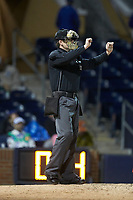 Home plate umpire Richard Riley indicates that the count is full during the International League game between the Gwinnett Braves and the Durham Bulls at Durham Bulls Athletic Park on April 20, 2019 in Durham, North Carolina. The Bulls defeated the Braves 3-2 in game two of a double-header. (Brian Westerholt/Four Seam Images)