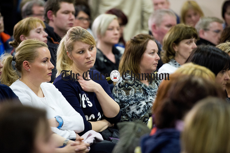 Concerned members of the public look on at an emergency meeting called by the West Clare Family Resource Centre in Kilrush Community Centre, following news that West Clare Early Years has closed with the loss of fifty three jobs. Photograph by John Kelly.