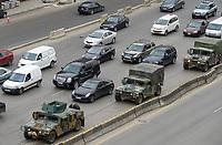 LEBANON, Beirut, military patrol on highway to Tripoli , american Humvee van / LIBANON, Beirut, Militaerfahrzeug der libanesischen Armee