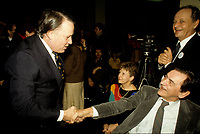 FILE PHOTO - Bernard Landry (L) and Camille Laurin (R)<br />  in 1988.<br /> <br /> Photo : Pierre Roussel - Agence Quebec Presse