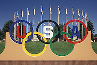 olympics rings, Colorado Springs, CO, Colorado, Olympic rings are displayed on the campus of the U.S. Olympic Complex, home of national headquarters in Colorado Springs.