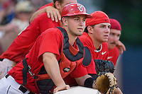 Catcher Robert Case #29 and teammates watch the action in the bottom of the 8th inning against the Virginia Cavaliers at the Charlottesville Regional of the 2010 College World Series at Davenport Field on June 6, 2010, in Charlottesville, Virginia.  The Red Storm defeated the Cavaliers 6-5.   Photo by Brian Westerholt / Four Seam Images