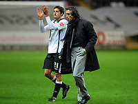 ATTENTION SPORTS PICTURE DESK<br /> Pictured: Paulo Sousa (r) Manager of Swansea City <br /> Re: Coca Cola Championship, Swansea City Football Club v Nottingham Forest at the Liberty Stadium, Swansea, south Wales. Saturday 12 December 2009