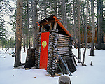 Smiley outhouse, Toiyabe National Forest, Sierra Nevada, California