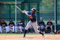 Outfielder Mallex Smith (59) of the Atlanta Braves farm system in a Minor League Spring Training intrasquad game on Wednesday, March 18, 2015, at the ESPN Wide World of Sports Complex in Lake Buena Vista, Florida. (Tom Priddy/Four Seam Images)
