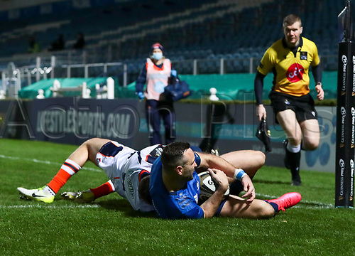 16th November 2020; RDS Arena, Dublin, Leinster, Ireland; Guinness Pro 14 Rugby, Leinster versus Edinburgh; Dave Kearney (Leinster) slides over to score the opening try