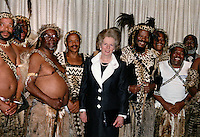 British Prime Minister Margaret Thatcher meets with members of the Zulu leadership including Mangosuthu Buthelezi (centre right), founder of the Inkatha Freedom Party (IFP).