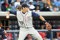 12 April 2008: Brandon Burgess of the Mobile BayBears, Class AA affiliate of the Arizona Diamondbacks, in a game against the Mississippi Braves at Trustmark Park in Pearl, Miss. Photo by:  Tom Priddy/Four Seam Images