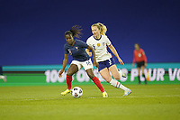 LE HAVRE, FRANCE - APRIL 13: Viviane Asseyi #18 of France moves with the ball during a game between France and USWNT at Stade Oceane on April 13, 2021 in Le Havre, France.