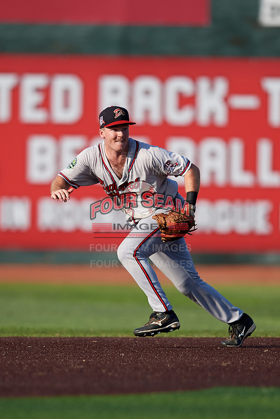 Danville Braves second baseman Greg Cullen (9) during a game against the Johnson City Cardinals on July 29, 2018 at TVA Credit Union Ballpark in Johnson City, Tennessee.  Johnson City defeated Danville 8-1.  (Mike Janes/Four Seam Images)