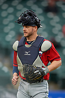 Columbus Clippers catcher Adam Moore (25) during a game against the Louisville Bats on May 1, 2017 at Louisville Slugger Field in Louisville, Kentucky.  Columbus defeated Louisville 6-1  (Mike Janes/Four Seam Images)
