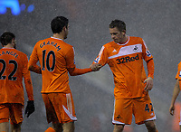Pictured L-R: Goal scorers Danny Graham and Gylfi Sigurdsson of Swansea after the end of the game. Saturday, 04 February 2012<br /> Re: Premier League football, West Bromwich Albion v Swansea City FC v at the Hawthorns Stadium, Birmingham, West Midlands.
